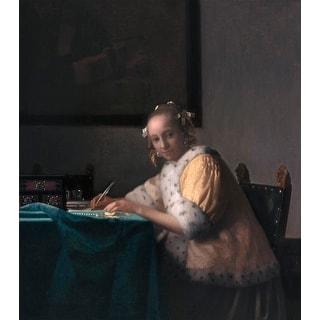 Easy Art Prints Johannes Vermeer's 'A lady writing' Premium Canvas Art