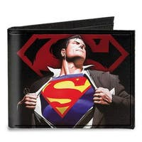 Superman Forever Clark Kent Superman Transition Shield Black Red Canvas Bi Canvas Bi-Fold Wallet One Size - One Size Fits most
