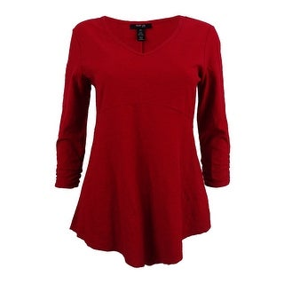 Style & Co. Womens Petite Ruched-Sleeve Handkerchief-Hem Top (PS, New Red Amore) - new red amore - ps