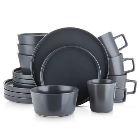 Stone Lain 16-Piece Stoneware Dinnerware Set, Service for 4, Gray Matte