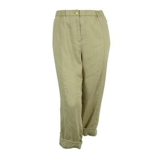 Calvin Klein Women's Linen Roll Tab Pants