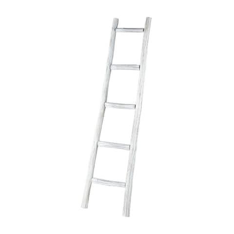 "60"" Distressed White Wooden Display Rack Ladder"