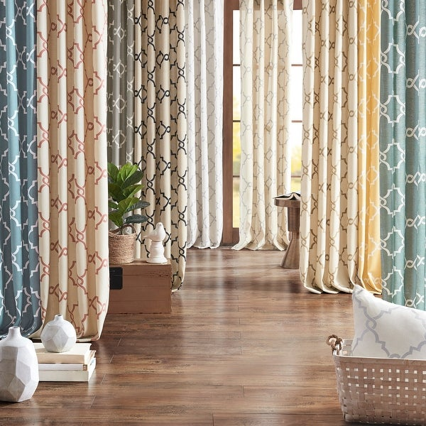 Madison Park Westmont Fretwork Print Pattern Single Curtain Panel. Opens flyout.