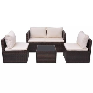 vidaXL Garden Sofa Set 13 Piece Wicker Brown Outdoor Furniture