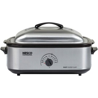 Nesco 4818-25PR Professional Stainless Steel Roaster Oven with Porcelain Cookwell, 18-Quart
