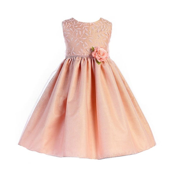 b44cb722061 Shop Crayon Kids Little Girls Dusty Rose Floral Accent Easter Flower Girl  Dress - Free Shipping Today - Overstock - 20103333