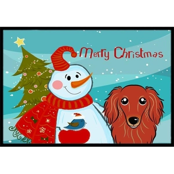 Carolines Treasures BB1834JMAT Snowman With Longhair Red Dachshund Indoor & Outdoor Mat 24 x 36 in.