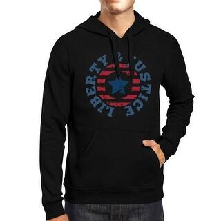 Liberty & Justice Unisex Graphic Hoodie Black Crewneck Pullover Top