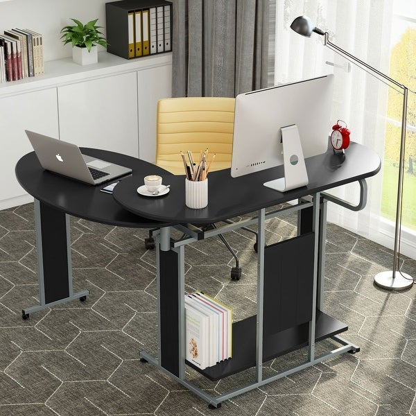 Black Glass Top PC Computer Desk with Base Unit Shelf Home Office//Study Table