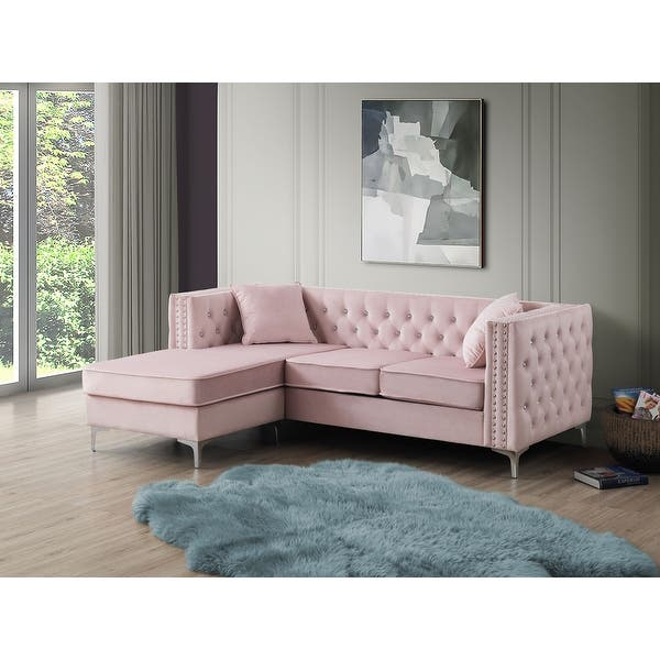 Paige Velvet Tufted Sofa with Chaise - Overstock - 31291605