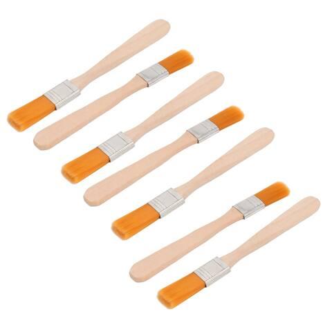 Oil Painter Wooden Handle Nylon Head Paint Brush Orange 13.8 x1.3x0.5cm 7 PCS