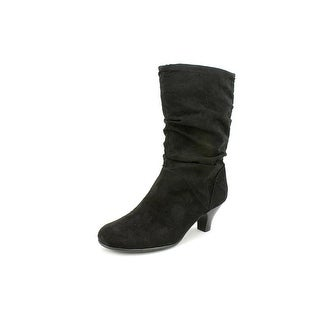 Aerosoles Wise n Shine Women W Round Toe Synthetic Black Mid Calf Boot