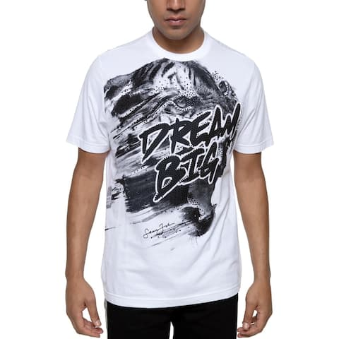 Sean John Mens Dream Big Slogan T-Shirt Embellished Graphic - Bright White