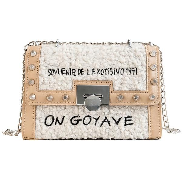 b5bf1c08c0a QZUnique Women  x27 s Envelope Faux Fur Chain Shoulder Handbag Rivet  Crossbody Message Bag