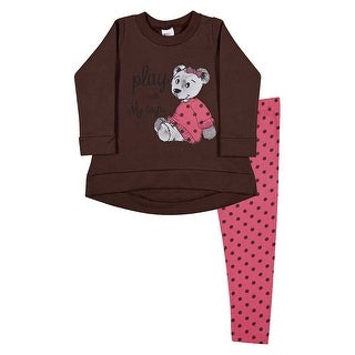 Toddler Girl Outfit Long Sleeve Shirt and Polka Dot Legging Pulla Bulla 1-3 Year