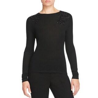 Elie Tahari Womens Pullover Sweater Wool Beaded