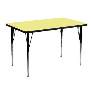 Fun & Games Activity Table 30''W x 48''L Rectangular Yellow Thermal Laminate Adj Height
