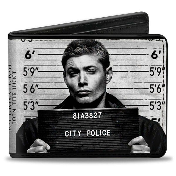 Supernatural Dean + Sam Mug Shots Grays Black White Bi Fold Wallet - One Size Fits most