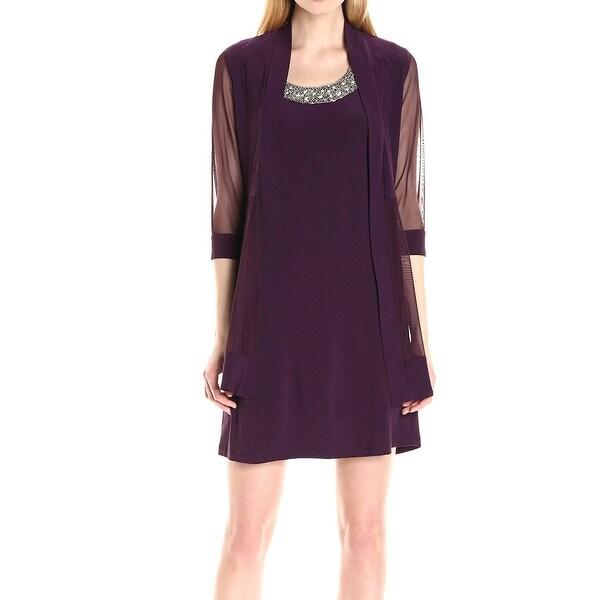 R&M Richards Purple Women's Size 14 Sheath Embellish Dress Set