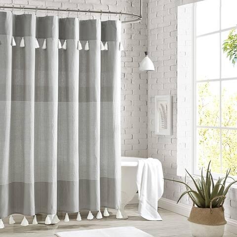 Porch & Den Onassis Modern Stripe Tassel Shower Curtain