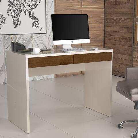Boahaus Busan Computer Desk, Pearl - Brown, 02 drawers