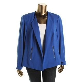 Calvin Klein Womens Plus Open Front Single Vent Open-Front Blazer - 22W