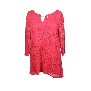 Jm Collection Pink 3/4-Sleeve Split-Neck Hardware Crochet Tunic S