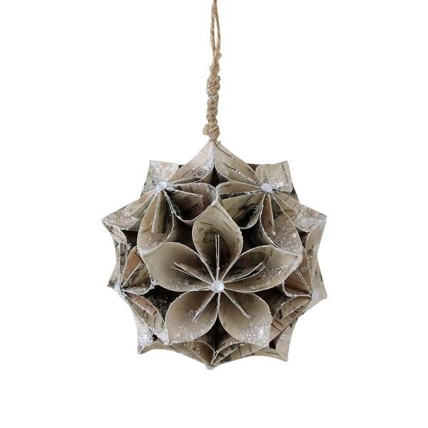 "4.5"" Glittered Wood Grain Flower Ball Christmas Ornament - PInk"