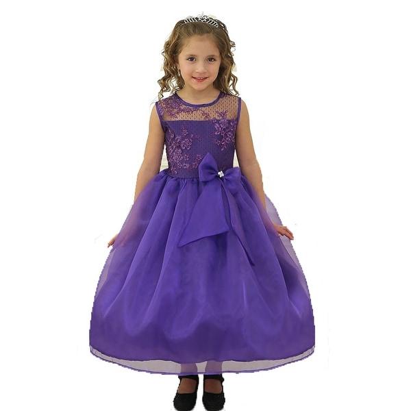 6611d9c32ef93 Girls Purple Lace Top Ribbon Junior Bridesmaid Dress 8-12