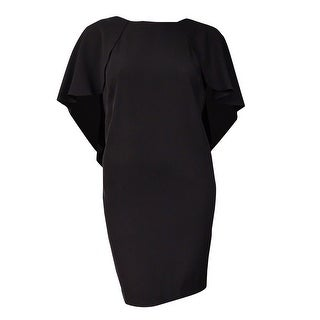 Calvin Klein Women's V-Back Batwing-Capelet Dress (8P, Black) - Black - 8P