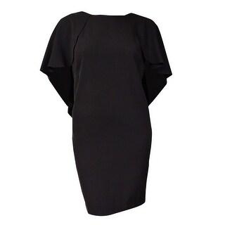 Calvin Klein Women's V-Back Batwing-Capelet Dress (8P, Black) - Black - 8P
