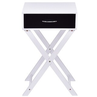Gymax Night Stand Campaign Style Modern X-Shape Accent Side End Table