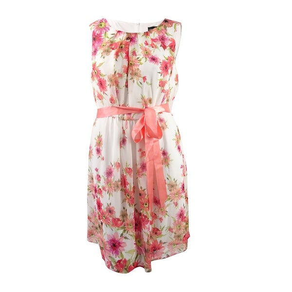 Connected Women's Plus Size Floral Printed Ribbon Belted Dress - Coral