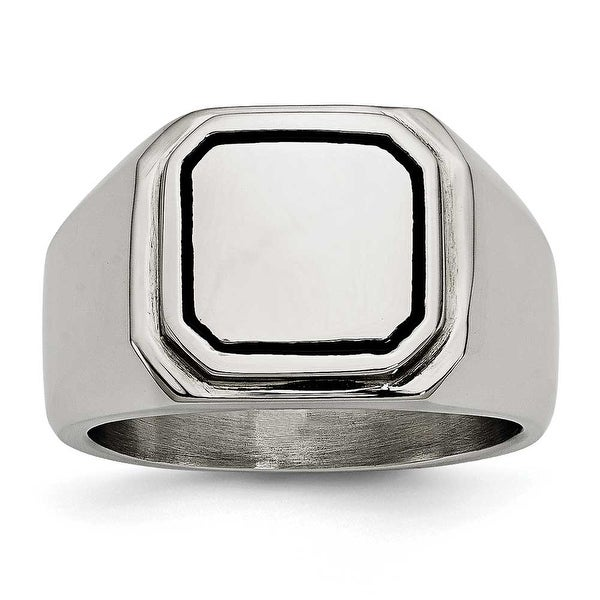 Chisel Stainless Steel Polished Black Enameled Ring
