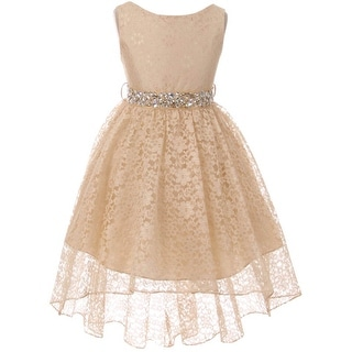BNY Corner Flower Girl Dress Lace Hi-Low with Rhinestone Belt Champ