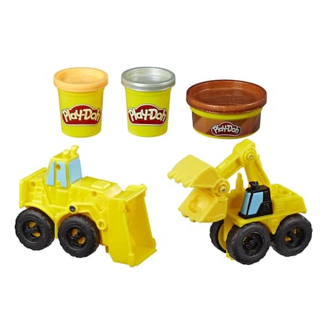 Play-Doh Wheels Excavator And Loader Toy Construction Trucks With Non-Toxic Play-Doh Sand Buildin' Compound Plus 2