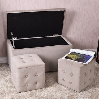 Costway 3 Piece Tufted Microfiber Storage Bench With 2 Cube Ottoman Set  Home Furniture