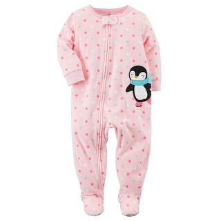 Carter's Baby Girls' 1-Piece Penguin Fleece PJs, Pink, 24 Months - pink penquin