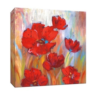 """PTM Images 9-147039  PTM Canvas Collection 12"""" x 12"""" - """"Ruby Poppies II"""" Giclee Flowers Art Print on Canvas"""