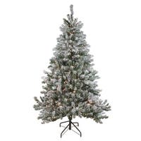7' Pre-Lit Flocked Balsam Pine Artificial Christmas Tree - Clear Lights - green