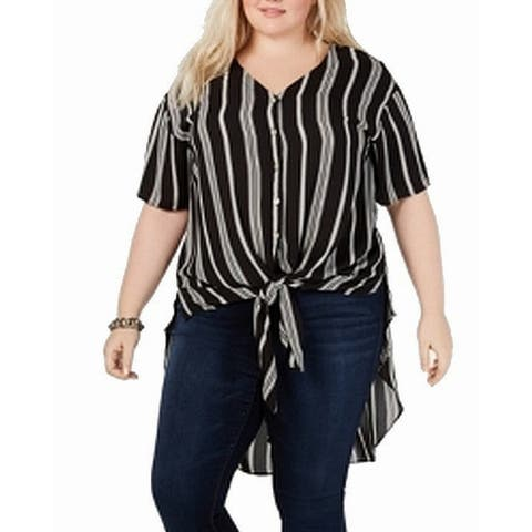 NY Collection Womens Blouse Black Size 1X Plus Striped Button Down