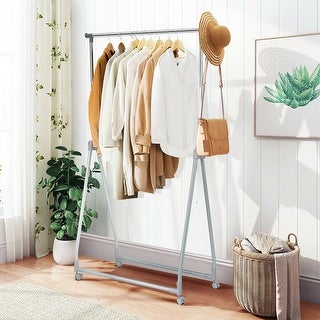 Link to Extendable Foldable Heavy Duty Clothing Rack with Hanging Rod - Silver Similar Items in Laundry