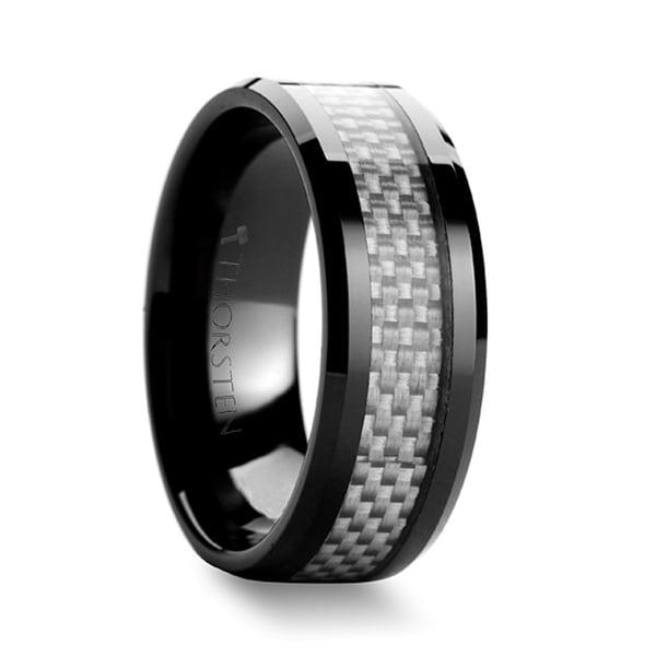 MYSTIQUE Beveled White Carbon Fiber Inlaid Ceramic Ring 8mm