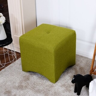 Costway Green Square Cube Ottoman Foot Stool Foot Rest Seating Wood Frame Furniture New