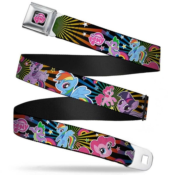 My Little Pony Logo Full Color Black Pink Three Ponies & Spike Sunburst Seatbelt Belt