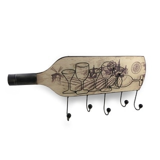 Wine Bottle and Glasses Themed Hanging Wall Hook