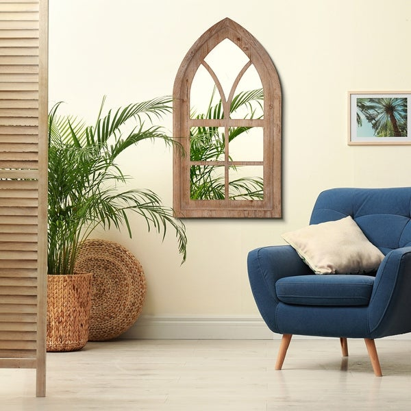 """Glitzhome 40""""H Wooden Cathedral Windowpane Wall Mirror. Opens flyout."""