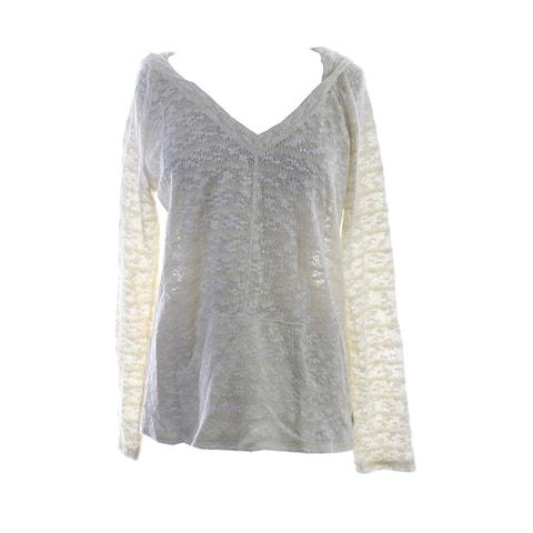 Sanctuary Ivory Textured Long-Sleeve Baja Hoody Sweater XL
