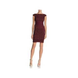 Tadashi Shoji Womens Petites Party Dress Corded Lace Mini