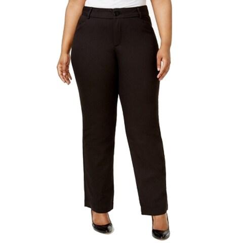 Lee Womens Plus Wide-Leg Flat-Front Dress Pants